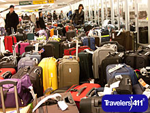Luggage backup at Newark International Airport due to weather delays