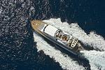 Aerial shot of the comfortable M/Y IVI cruising