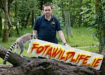 Stephen Ryan, Head of MArketing Fota Wildlife Park and ring tailed lemur at launch of fotawildlife.ie
