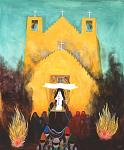 """Christmas Eve at Taos Pueblo,"" a painting by Dorothy Brett in the collection of the Harwood Museum of Art in Taos, New Mexico."