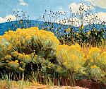 """Chamisa in Bloom"" by E. Martin Hennings, a painting in the collection of the Harwood Museum of Art in Taos, New Mexico."
