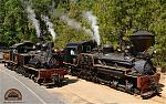 Our two historic shay locomotives on a beautiful summer day. These steam engines once hauled logs for the Westside Lumber Company now haul passengers...