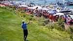 Part of the fun of the American Century Championship at Edgewood Tahoe Golf Course in Stateline, NV is interacting with the crowd at the 17th hole....