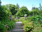 Belvedere's Victorian Walled Garden, covers 1.5 acres. This view is to the pond guarded by Foo Dogs.