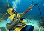 Jeff Wright, costumed as a seahorse, rocks with a fake guitar Saturday, July 11, 2015, during the Underwater Music Festival in the Florida Keys...