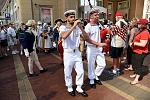 Visiting ship crew performing outside Boston Harbor Hotel at Rowes Wharf