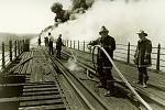 Historical photo firemen on the Poughkeepsie-Highland Railroad Bridge, now the Walkway Over the Hudson.    Photo by John Fasulo