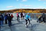 Fall on the Walkway Over the Hudson with bikers and pedestrians.  Photo By Fred Schaeffer