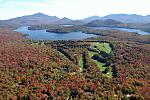 WFCRFall  Aerial view of the Whiteface Club Golf Course, Lake Placid lakde, and the summit of Whiteface Mountain to the left.