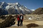 Sue trekking with her youngest son in Nepal's Everest region