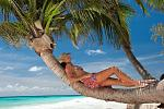 Almond Casuarina Beach Woman on palm tree 2