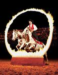 Witness as the Roman Rider stands astride two horses and leaps through the ring of fire.