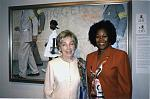 "Norman Rockwell Museum Trustee Ruby Bridges Hall and her former elementary school teacher Barbara Henry stand in front of Norman Rockwell's ""The..."