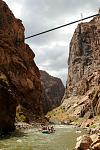 An Echo Canyon rafting crew floats under the famous Royal Gorge Bridge in Colorado.