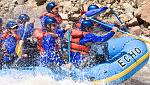 We see a lot of splashes and a lot of smile on an Echo Canyon rafting trip.