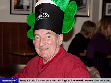 Johnston Dobbin, a Bushmills Resident since 1961 having some St. Patrick's Day fun at the Bayview Hotel in Bushmills, Antrim Coast, Northern Ireland.