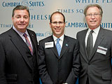 Choice Hotels CEO, Stephen Joyce; Cambria Suites SVP, Michael Murphy; CEO of NYC & Company, George Feritta at the Cambria Suites media roundtable.