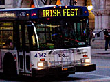 Irish Fest bound bus in downtown Milwaukee Wisconsin.