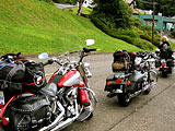 Line of Motor Cycles from Linda Crill\'s cross-country roadtrip.
