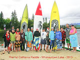 Racers in the first California Paddle, 2013. The California Paddle is a Stand Up Paddle Board race - standing on a surfboard and paddling as fast as you can for 1, 2, 3 and/or 5 miles. - Photo