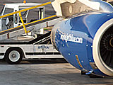 Jetblue engine on the tarmac
