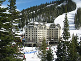 Big Sky Resort\'s luxury Summit Hotel located slopeside in the Mountain Village. Photo credit: Glenniss Indreland