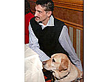 Albert Rizzi Founder and CEO, MyBlindSpot.org with Service Dog, Doxy.