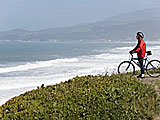Mountain Biking on ocean trails in Half Moon Bay, California, USA
