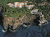 Aerial view of Reid\'s Palace resort in Madeira, Portugal.