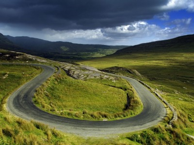 Twisty roads in the countryside of County Cork, Ireland