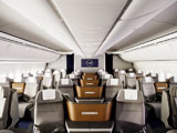 Image of Lufthansa's Business Class featuring 6 across executive seating and a feeling of spaciousness and crisp design.