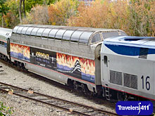 Image of Amtrak's one of a kind 1955 vintage Dome Car.  This special double decker car runs the line from Albany to Montreal and beyond and is rotated between some of Amtrak's other lines as w