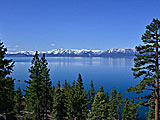 South Lake Tahoe.  Lake Tahoe shares a border with California and Nevada.