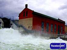 Michigan.  Five Channels Dam on the AuSable River after a storm.