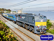 The Emerald Isle Express at Seapoint, Dublin Bay. Railtours Ireland First Class.