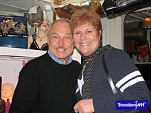 Serendipity3 Owner Stephen Bruce with Travel Expert Stephanie Abrams in NYC inside the restaurant.