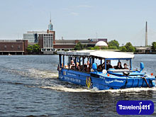 Boston Duck Tours.  Waterfront Wanda with view of the Museum of Science and Zakim Bridge.