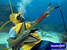 Jeff Wright, costumed as a seahorse, rocks with a fake guitar Saturday, July 11, 2015, during the Underwater Music Festival in the Florida Keys National Marine Sanctuary off Big Pine Key, Fla.