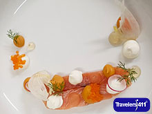 Cured Salmon Plate at Manor House Country Hotel, Kiladeas, Co. Fermanagh, Northern Ireland.