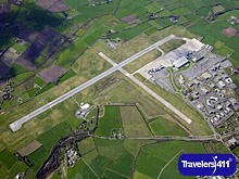 Aerial view of Cork Airport in Ireland.