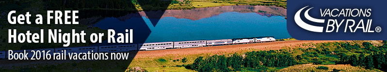 Vacations By Rail.  Get a FREE Hotel Night or Rail.  Book 2016 rail vacations now.  Click here to visit www.vacationsbyrail.com