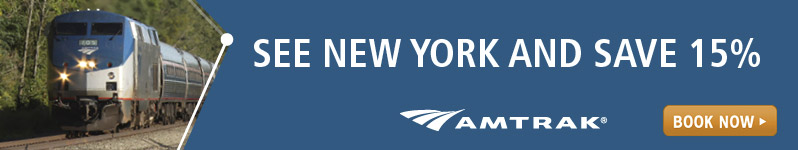 Amtrak.  See New York and Save 15%.  Click here to visit www.amtrak.com