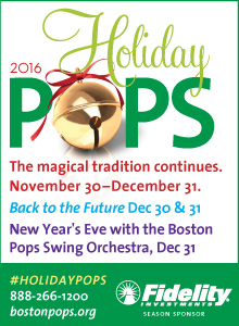 2016 Holiday Pops.  The magical tradition continues.  November 30 - December 31.  Back to the future December 30 and 31.  New Year's Eve with the Boston Pops Swing Orchestra, December 31.  Click here to visit www.bostonpops.org.