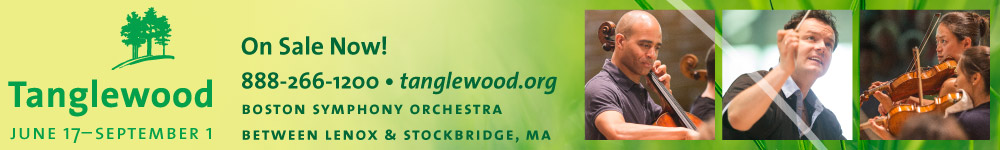 Tanglewood June 17 - September 1, 2017.  On Sale Now!  888.266.1200.  Boston Symphony Orchestra Between Lenox and Stockbridge, Massachusetts.  Click here to visit tanglewood.org.